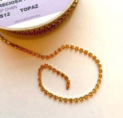 chn09368, Preciosa cup chain,topaz color chatons, Preciosa brand, Czech glass, golden finish, topaz color 3mm stones, 3mm chatons, machine cut, sparkling, bling, rhinestone, bsueboutiques, glass stones, assemblage, bead mosaic, boutique style
