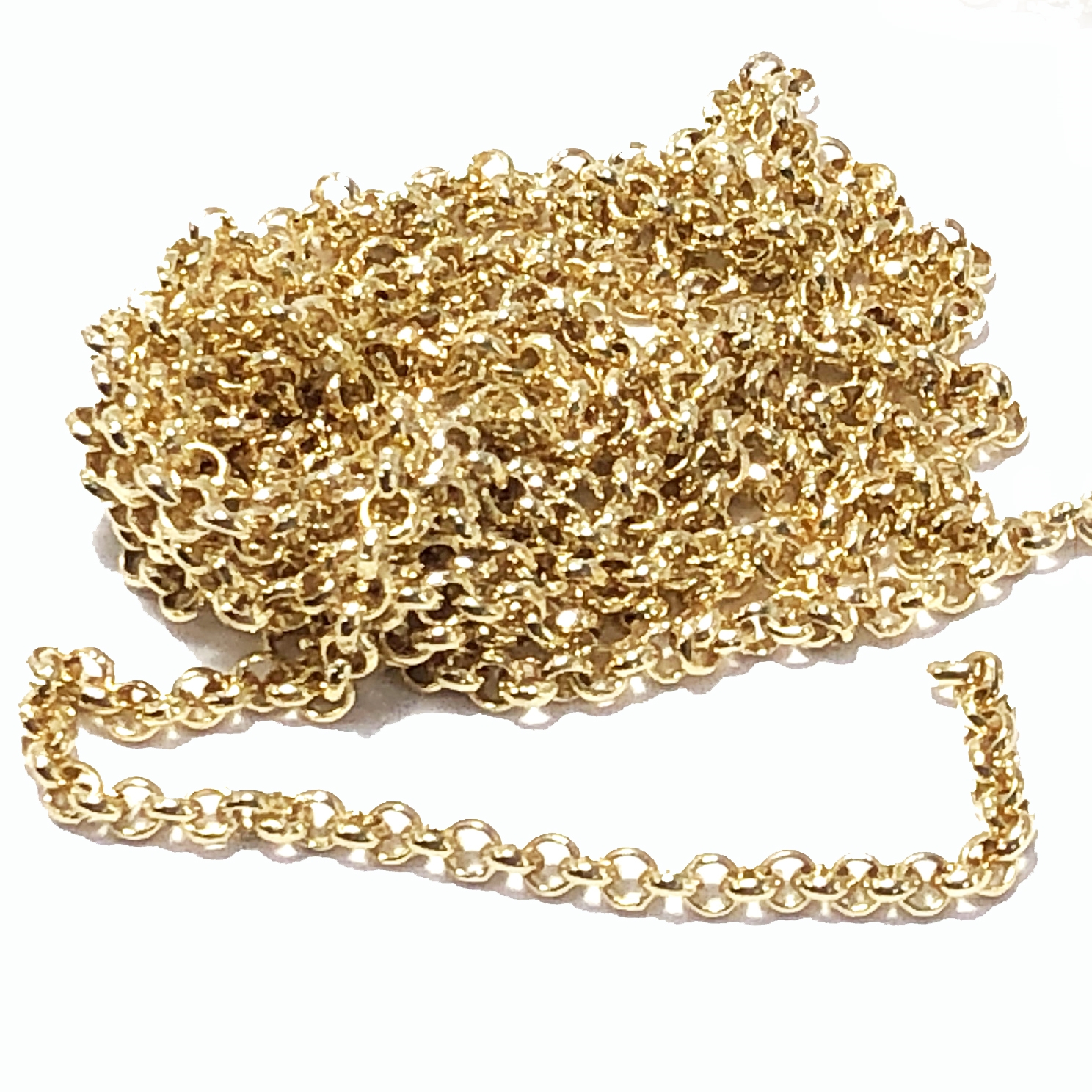 rolo chain, belcher chain, 2mm, gold plate, 09530, jewelry chain, jewelry making supplies, vintage jewelry supplies, charm chain, bsueboutiques, nickel free, US made chain
