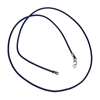 leather cord, necklace, chain, 09843, necklace with clasp, finished necklace, leather, cord necklace, deep blue, dark blue leather, sterling silver clasp, silver, B'sue Boutiques, jewelry making supplies, 16 inches