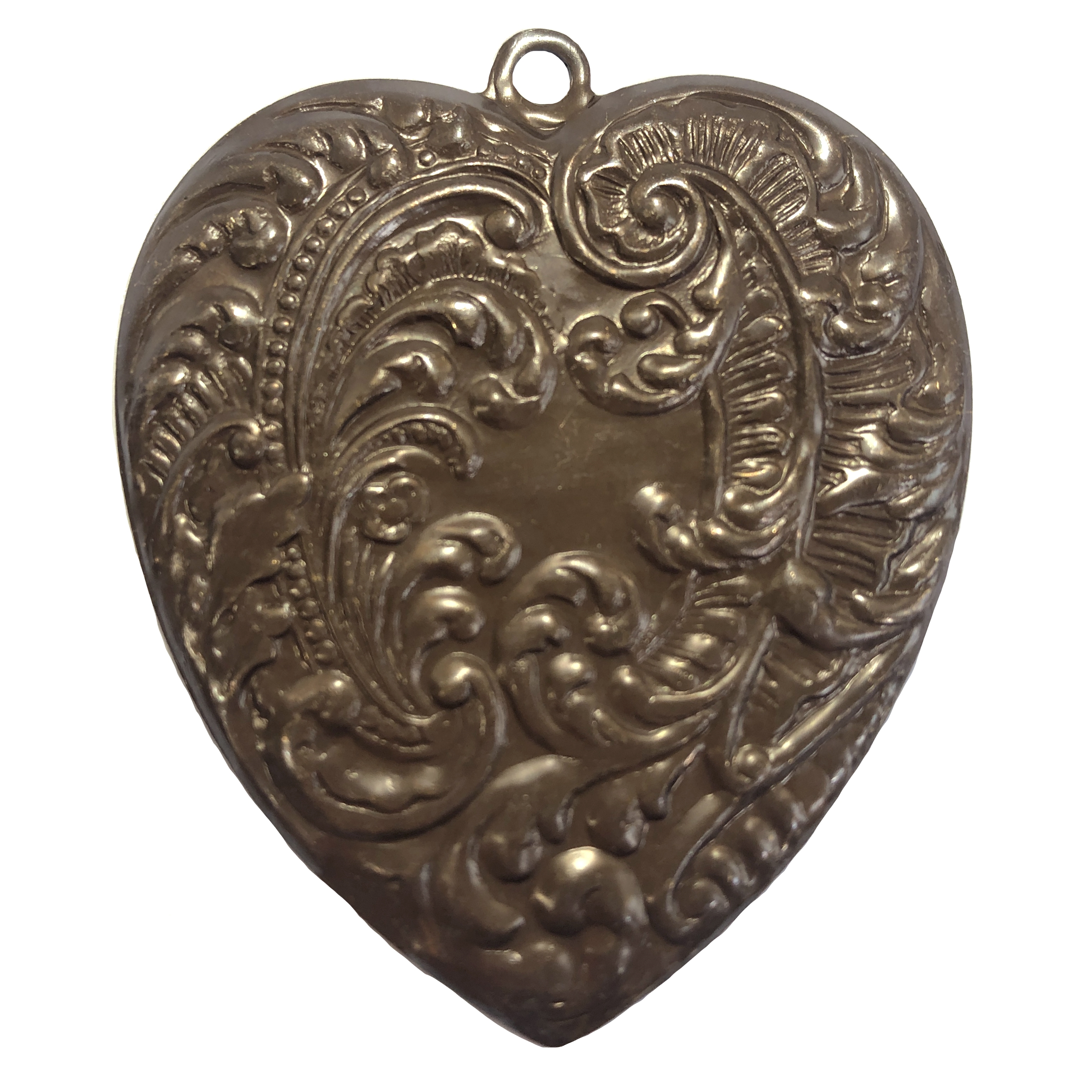 brass heart, Victorian heart, choxie, 0120, 54x46mm, chocolate brass, US made, nickel free, bsueboutiques, jewelry making supplies, vintage jewelry supplies, feather style heart, pendant, heart pendant