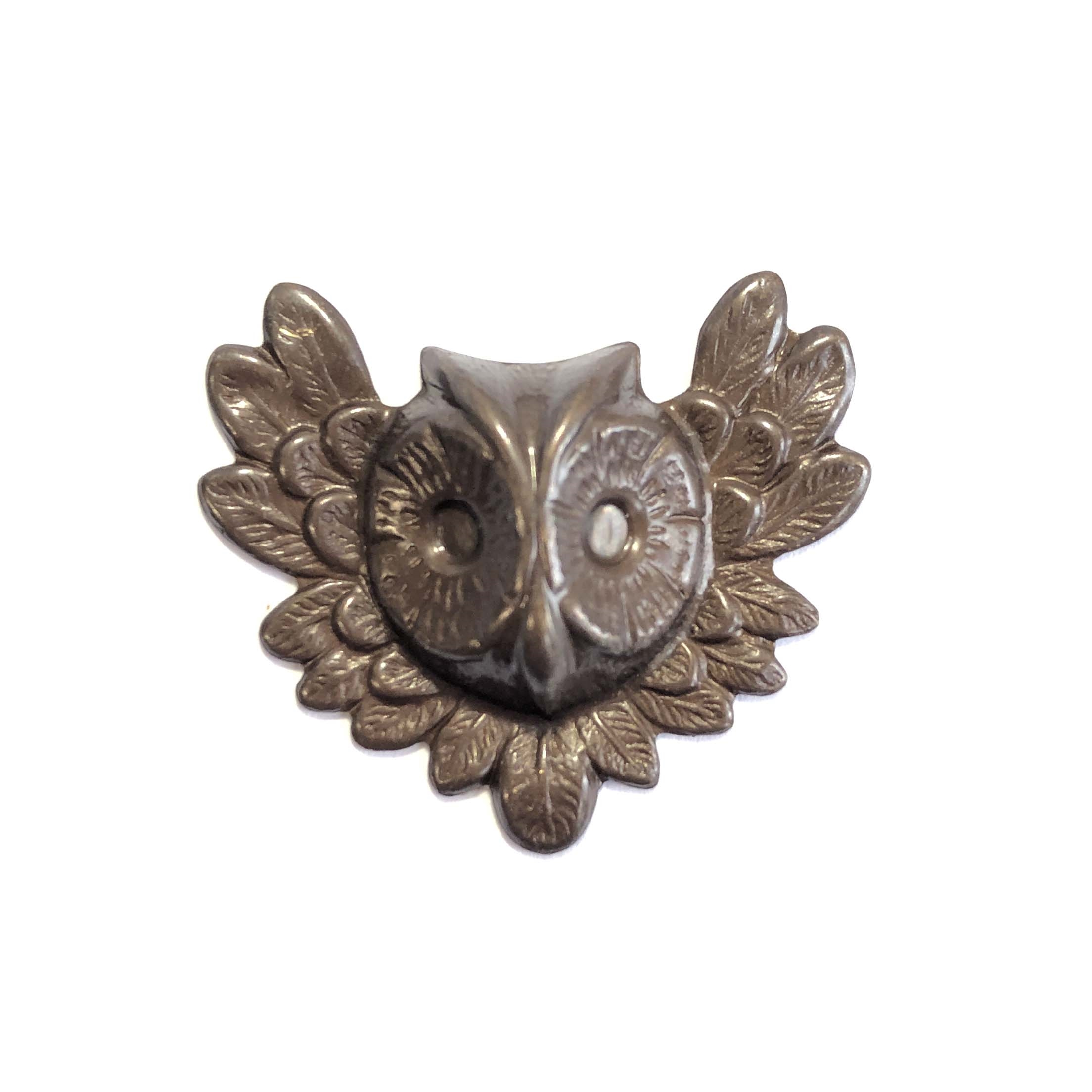 brass owl head, owl stampings, choxie, 0137, chocolate brass, B'sue Boutiques, nickel free, US made, jewelry making, jewelry supplies, brass jewelry parts, hollow back stampings, mold making, vintage supplies, vintage jewelry parts