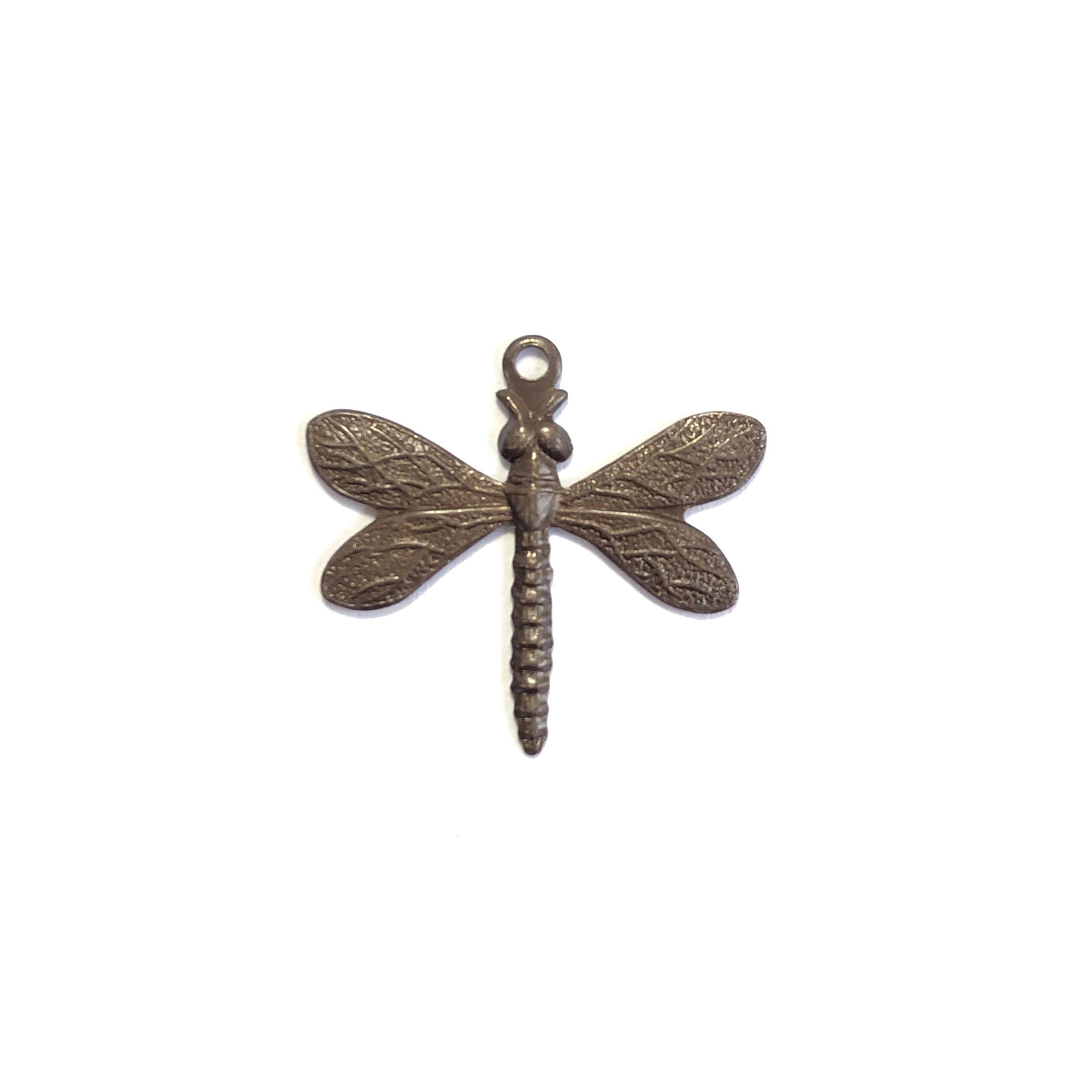 dragonfly charm, choxie, chocolate brass, dragonfly, charm, brass charm, US made, nickel free, 20x21mm, bug charm, jewelry making, dragonfly jewelry, vintage supplies, jewelry supplies, jewelry findings, brass stamping, B'sue Boutiques, insect, 0138