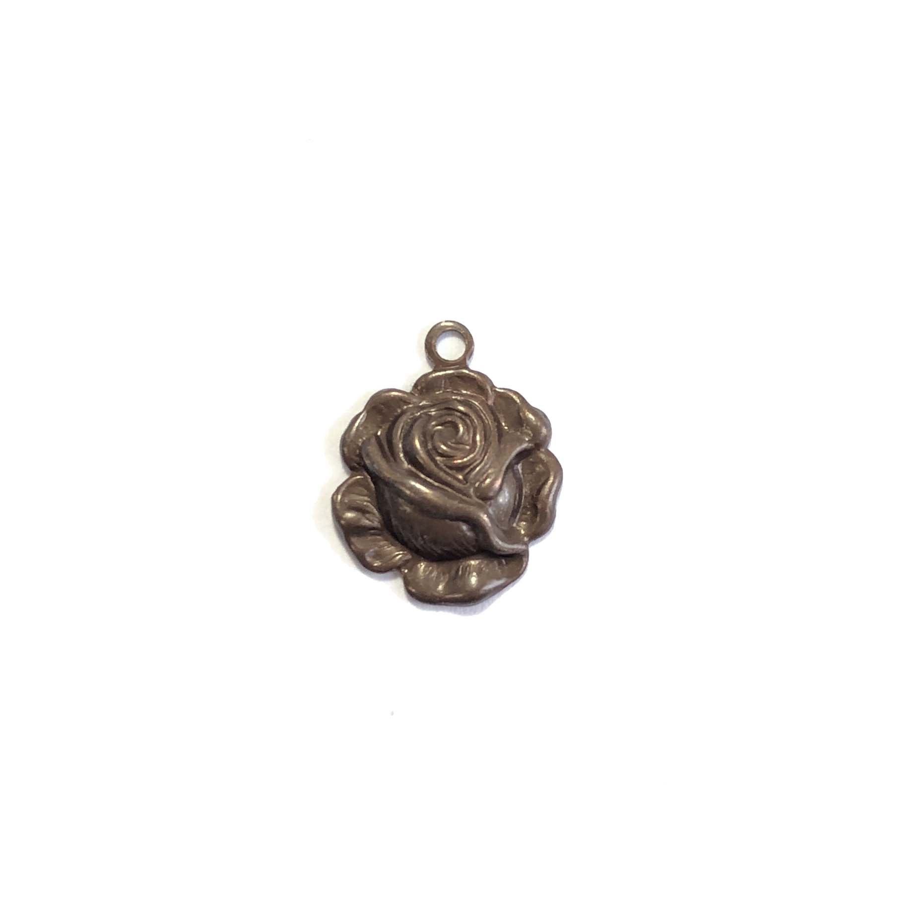 Rose Charm, Choxie, 0139, jewelry making, B'sue Boutiques, lead free, jewelry supplies, jewelry making, vintage supplies, rose pendants, brass, rose, pendant, 12mm, charm, flower
