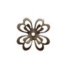 brass flower, slotted flower, choxie, 27mm, shamrock, flower, chocolate brass, drilled, drilled flower, flower layer, rivet, B'sue Boutiques, jewelry supplies, US made, 09876
