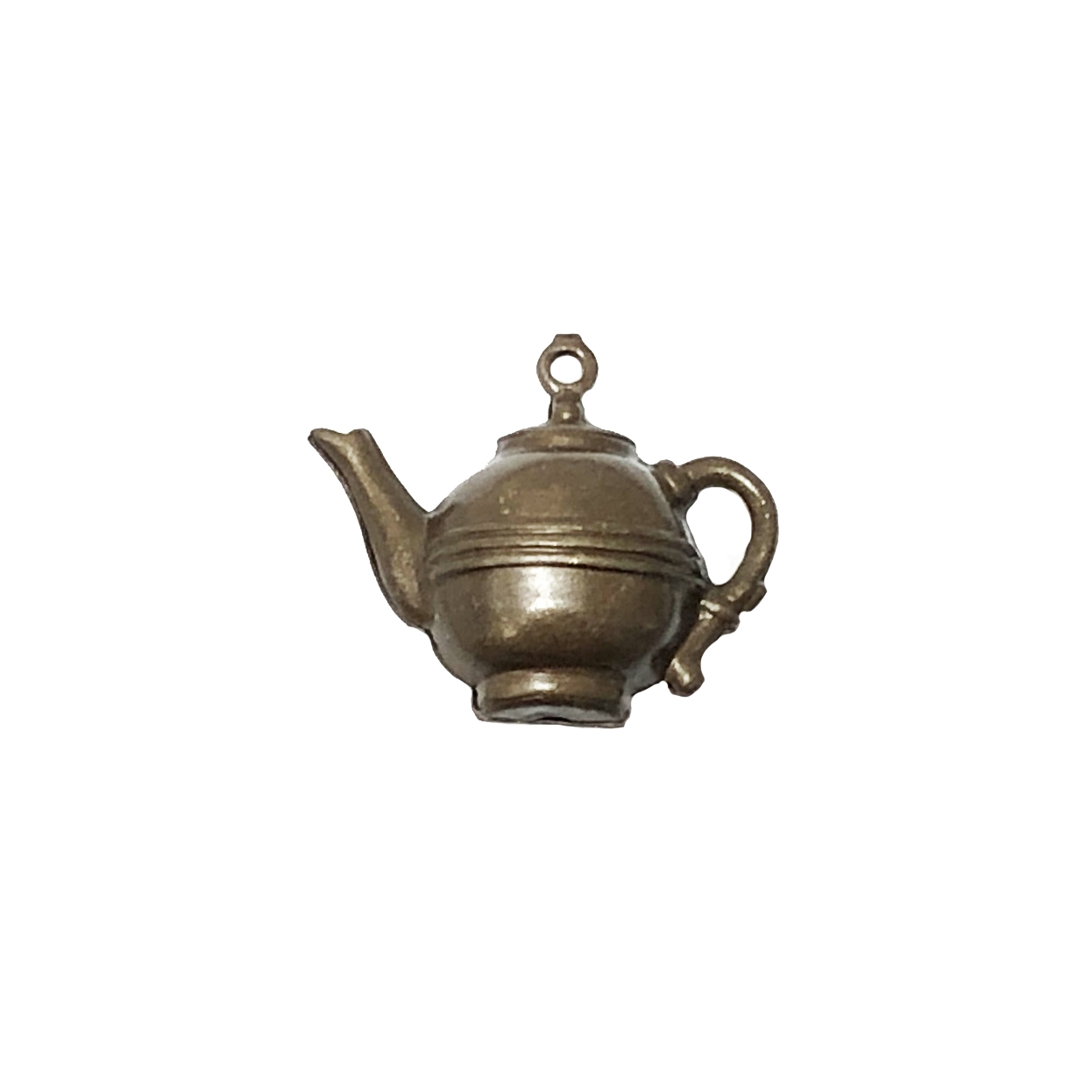 teapot, choxie, charms, pendant, vintage style, 3d hollow, brass, tea, hollow charm, tea pot, pot, chocolate brass, us made, nickel free, B'sue Boutiques, vintage supplies, jewelry supplies, jewelry findings, 14x21mm, brass, 09879