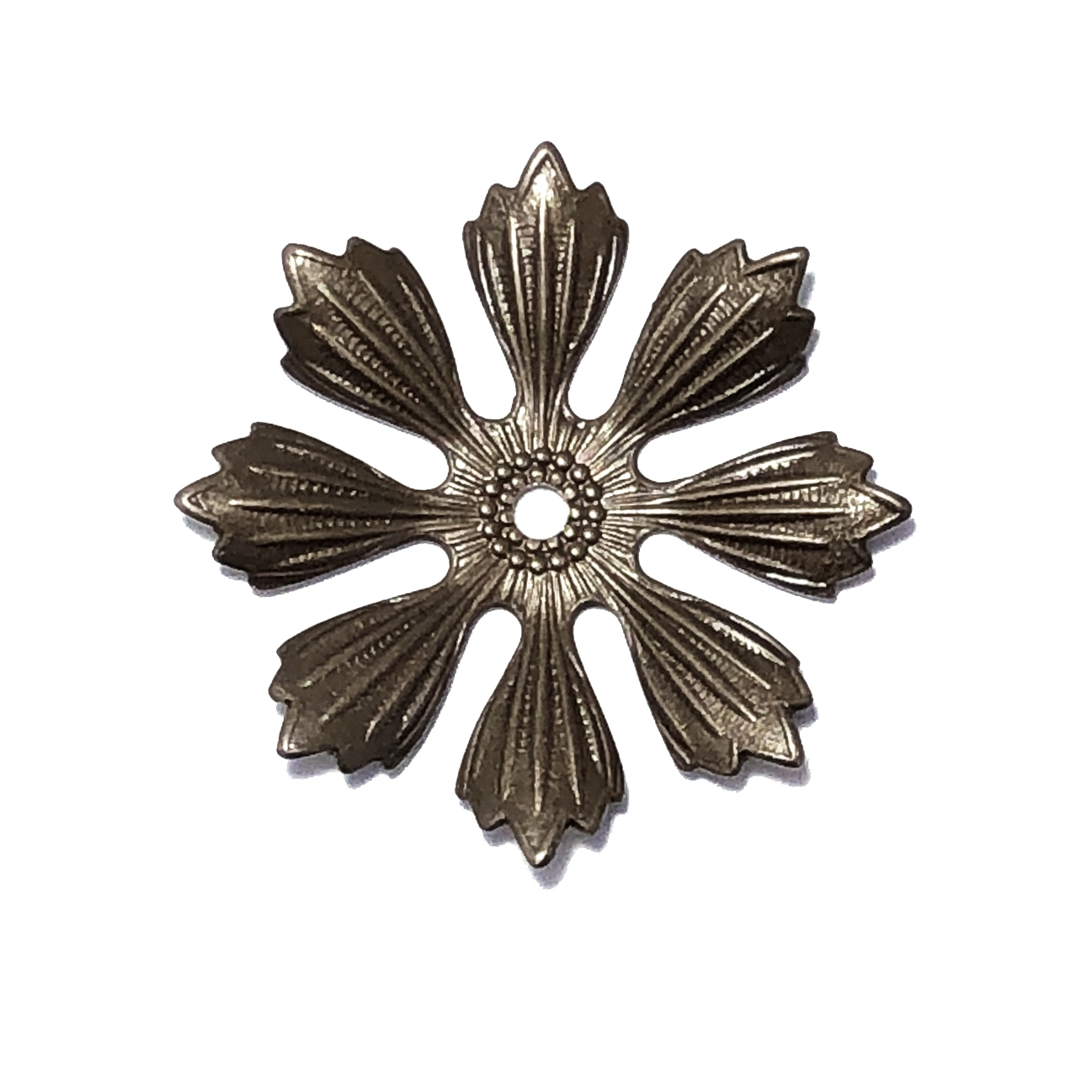 brass flower, choxie, drilled, 09881, flower, eight petals, chocolate brass, Bsue Boutiques, jewelry supplies, leaves, flowers, drilled flower, flower layer, 33mm
