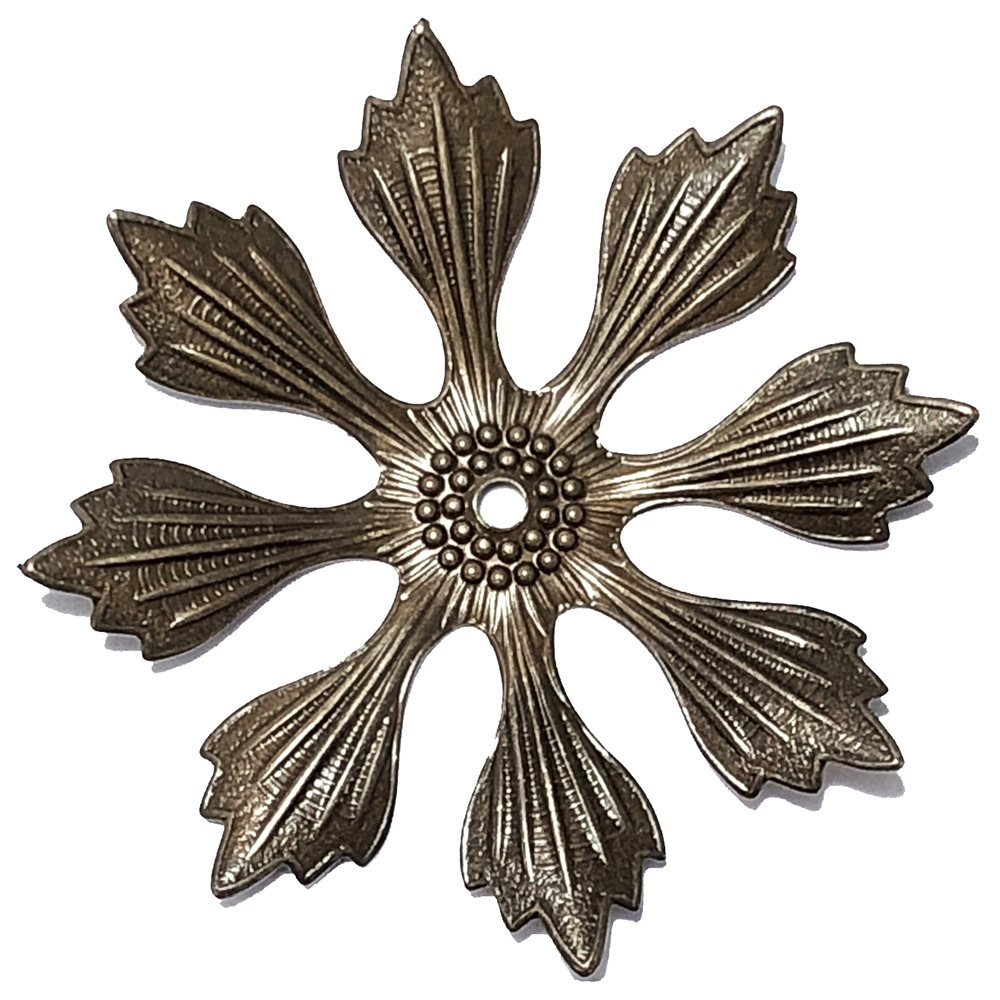 brass flower, choxie, 09882, eight petal flower, 49mm, large flower, ribbed flower, chocolate brass, drilled flower, assemblage, jewelry supplies, jewelry making, Bsue Boutiques, leaves, leafy flower, leaf