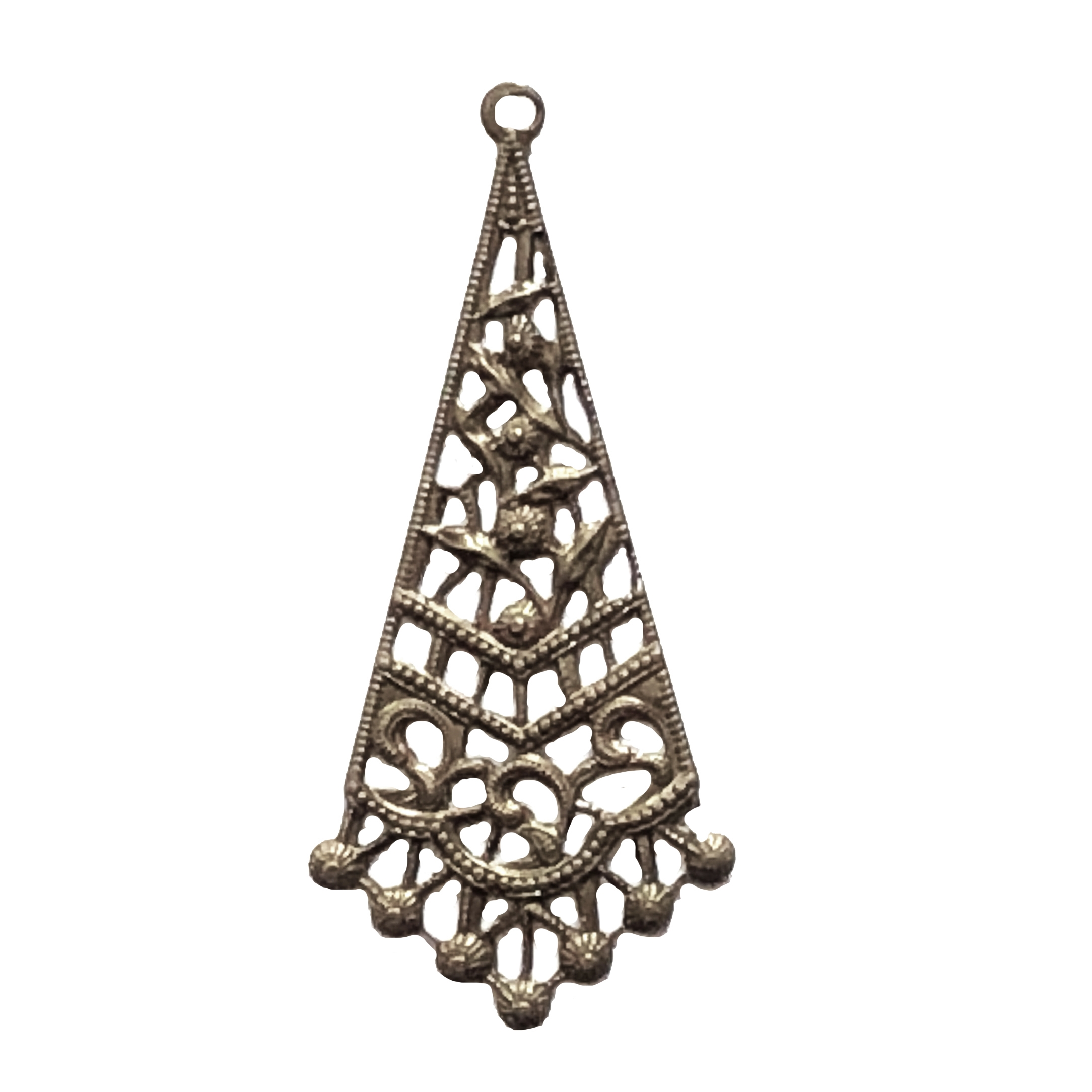 brass filigree drop, chocolate brass, filigree, brass stamping, drop, filigree drop, victorian, pendent, charm, earring drop, brass filigree, us made, nickel free, jewelry making, jewelry findings, vintage supplies, jewelry supplies, 09898