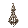 brass filigree drop, chocolate brass, filigree, brass stamping, drop, filigree drop, victorian, pendent, charm, earring, brass filigree, us made, nickel free, jewelry making, jewelry findings, vintage supplies, jewelry supplies, 09900