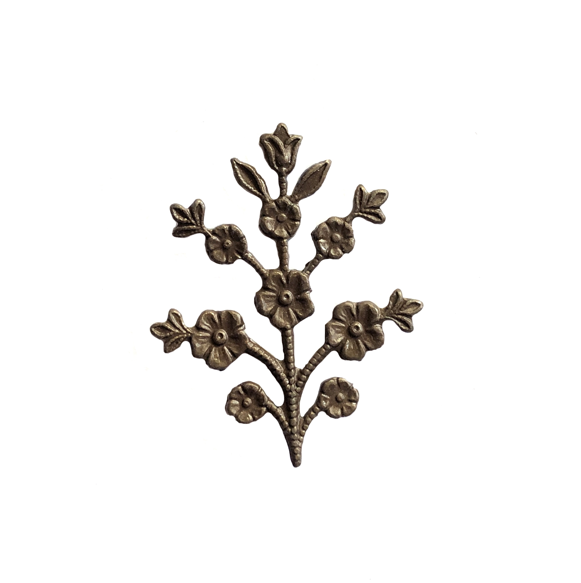 floral sprig,  chocolate brass, B'sue Boutiques, nickel free, US made, jewelry supplies, vintage supplies, flower stem, flower sprig, flower, stem, jewelry making, jewelry findings, sprig, 30x24mm, 09921