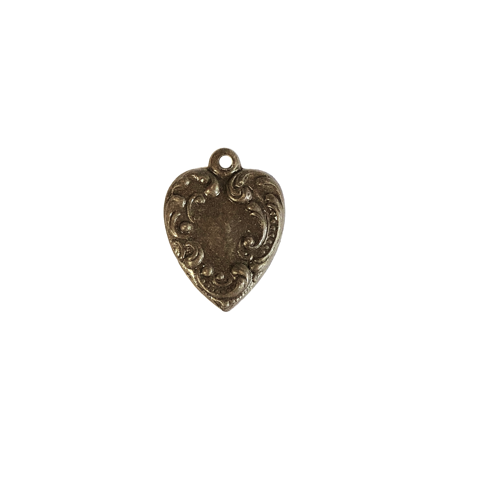 small heart charm, chocolate brass, hearts, brass stamping, charm, pendant, floral design, 28x24mm, heart charm, us made, brass, floral, nickel free, B'sue Boutiques, vintage supplies, leafy heart, 09965