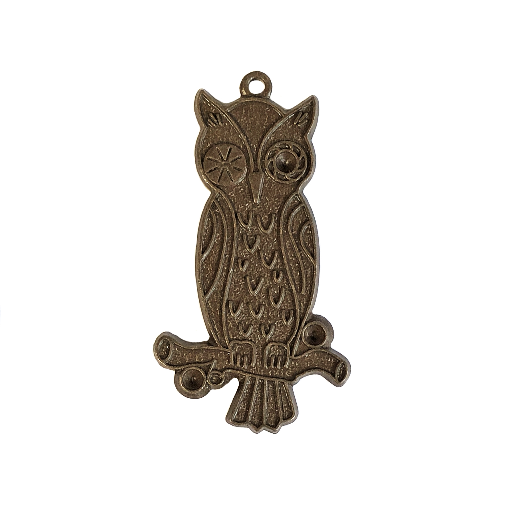 winking owl, chocolate brass, owl, brass birds, birds, 33x19mm, pendant, charm, brass stamping, arts and crafts, brass owl, US made, nickel free, B'sue Boutiques, jewelry making, jewelry findings, vintage supplies, jewelry supplies, 09969