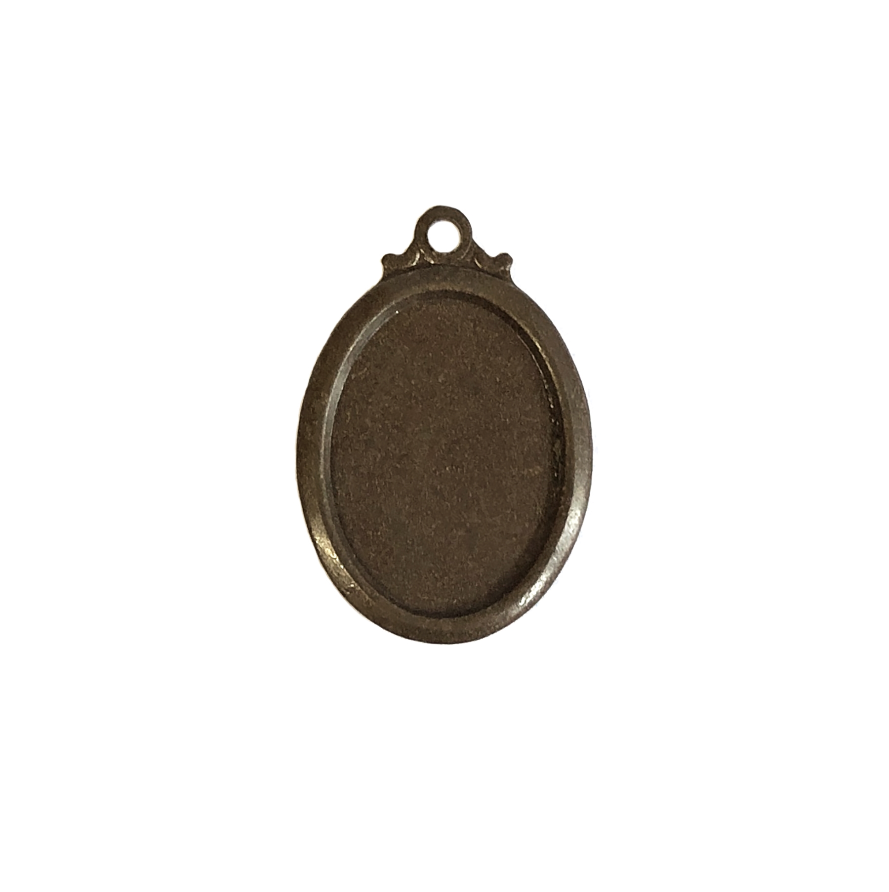 pendant style mount, chocolate brass, mount, pendant, pendant mount, simply mount, jewelry mount, jewelry pendant, 18x13mm mount, US made, nickel free, jewelry making, jewelry supplies, stamping supplies, vintage supplies, B'sue Boutiques, 09978