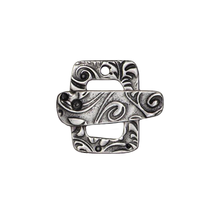 floral toggle clasp, antiqued pewter clasp, oxidized finish, jewelry making, clasp jewelry, jewelry supplies, vintage supplies, B'sue Boutiques, jewelry findings, jewelry clasp, 20x15mm, 0115, rectangular shape, rectangular clasp