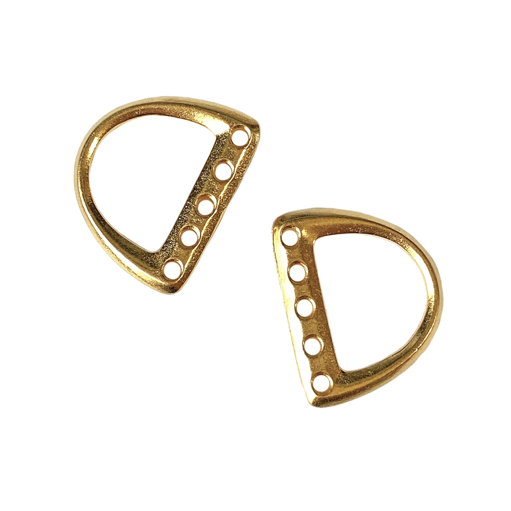five-hole D ring, gold plated, pewter base, toggle, clasp, D ring, five-hole ring, 16x19mm, bracelet ends, jewelry bracelet ends, jewelry making, jewelry supplies, vintage supplies, jewelry findings, clasp ends, B'sue Boutiques, gold d ring, 01609