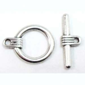 Clasp, Toggle, Round, Antique Silver Plate, 15mm