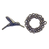 Floral Clasp, Toggle, Clasp, Antique Bronze, B'sue Boutiques, cast zinc, jewelry making, jewelry parts, toggles, flower toggles, beading supplies, jewelry supplies, clasp, toggle, bronze finish, 28mm, 03274, wreath toggle