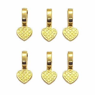 Heart Motif Glue on Bail, Gold tone, 03766, bails, set of 6, heart bail, glue on bail, clasps, B'sue Boutiques, jewelry supplies, findings