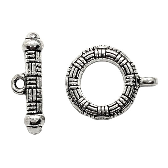 toggle clasp, indonesian style, antique silver, toggle, clasp, jewelry clasps, silver, B'sue Boutiques, vintage supplies, jewelry making, jewelry parts, toggles, beading supplies, 04340, connector