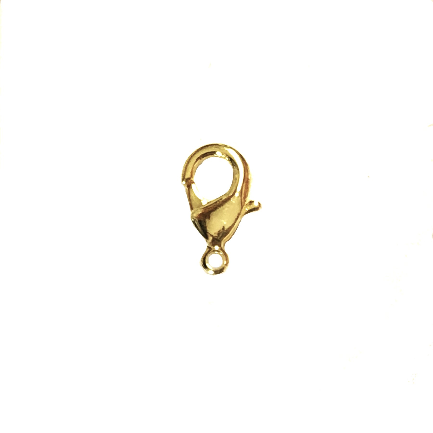 lobster claw clasp, lobster clasp, clasp, gold, brass, claw, connector, 15mm, gold clasp, gold plated, us made, nickel free, clasp findings, B'sue Boutiques, jewelry supplies, vintage supplies, jewelry findings, jewelry making, 04870