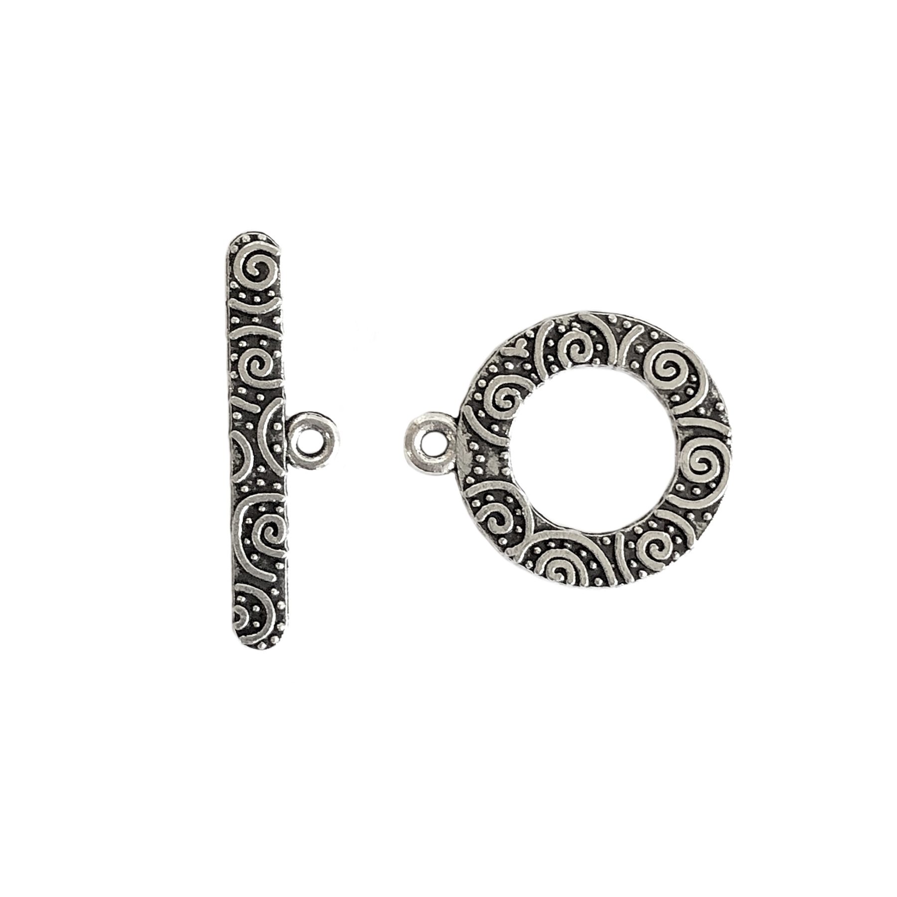 swirl zinc clasp and toggle, antique silver, toggle, clasp, carved design, swirl clasp, zinc alloy, 19-24mm, silver clasp, silver toggle, silver, jewelry clasp, jewelry making, jewelry supplies, vintage supplies, B'sue Boutiques, jewelry findings, 0725