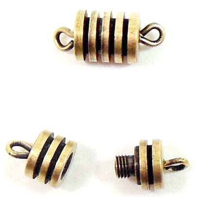Clasp, Two Piece Screw Style, Ribbed, Brass Ox, 10mm