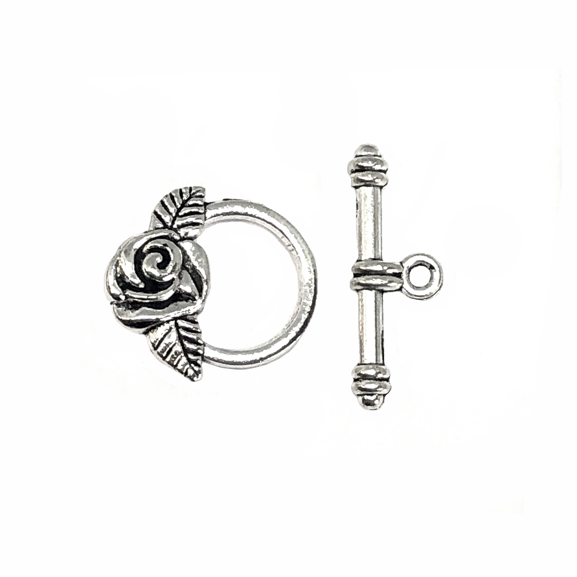 floral toggle clasp, antique silver, toggle, clasp, jewelry clasps, silver, B'sue Boutiques, vintage supplies, jewelry making, jewelry parts, toggles, beading supplies, 09136, rose, rose motif, flowers, roses, floral