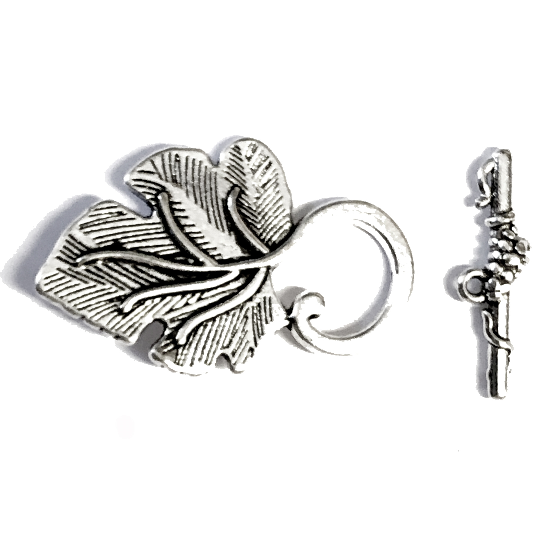 leaf toggle clasp, antique silver, toggle, clasp, jewelry clasps, silver, B'sue Boutiques, vintage supplies, jewelry making, jewelry parts, toggles, beading supplies, 09138, leaf motif, leaves