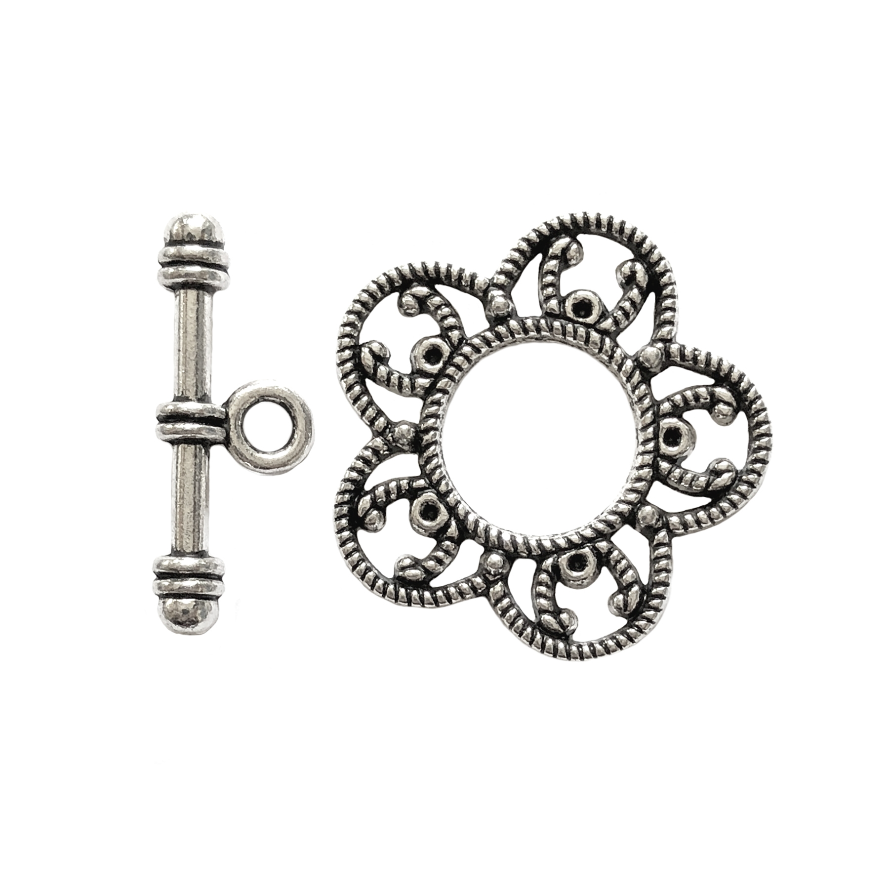 silver flower clasp, antique silver, alloy toggle clasp, flower design, flower clasp, silver flower clasp, jewelry making, clasp jewelry, jewelry supplies, vintage supplies, B'sue Boutiques, jewelry findings, silver clasp, 26mm, bar and flower, 09282