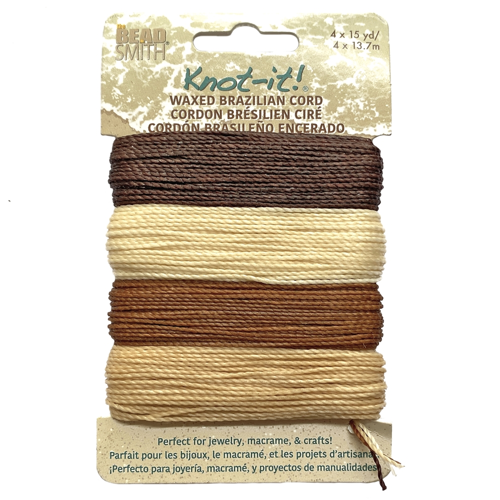 java vibes mix waxed Brazilian cord, knotting twine, craft cord, waxed cord, brown cord, cream cord, waxed cord, 15 yards, jewelry cord, 13.7 meters, jewelry making, vintage supplies, jewelry supplies, B'sue Boutiques, jewelry waxed cord, 02441