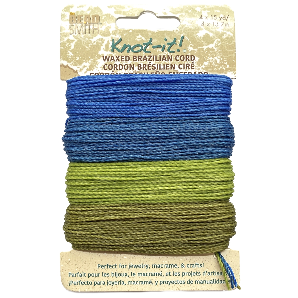 hang loose mix waxed Brazilian cord, knotting twine, craft cord, waxed cord, blue cord, green cord, waxed cord, 15 yards, jewelry cord, 13.7 meters, jewelry making, vintage supplies, jewelry supplies, B'sue Boutiques, jewelry waxed cord, 02443