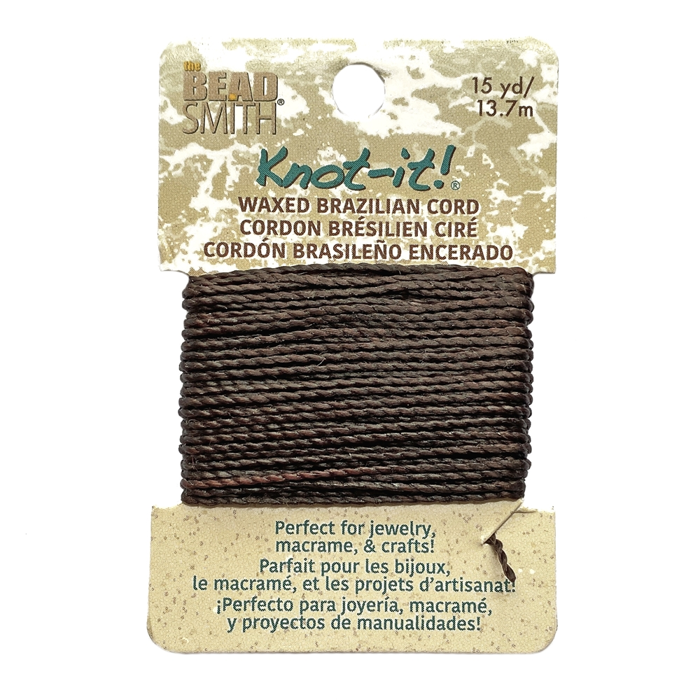 chocolate waxed Brazilian cord, knotting twine, craft cord, waxed cord, chocolate cord, waxed cord, 15 yards, jewelry cord, 13.7 meters, jewelry making, vintage supplies, jewelry supplies, B'sue Boutiques, jewelry waxed cord, brown, 02445