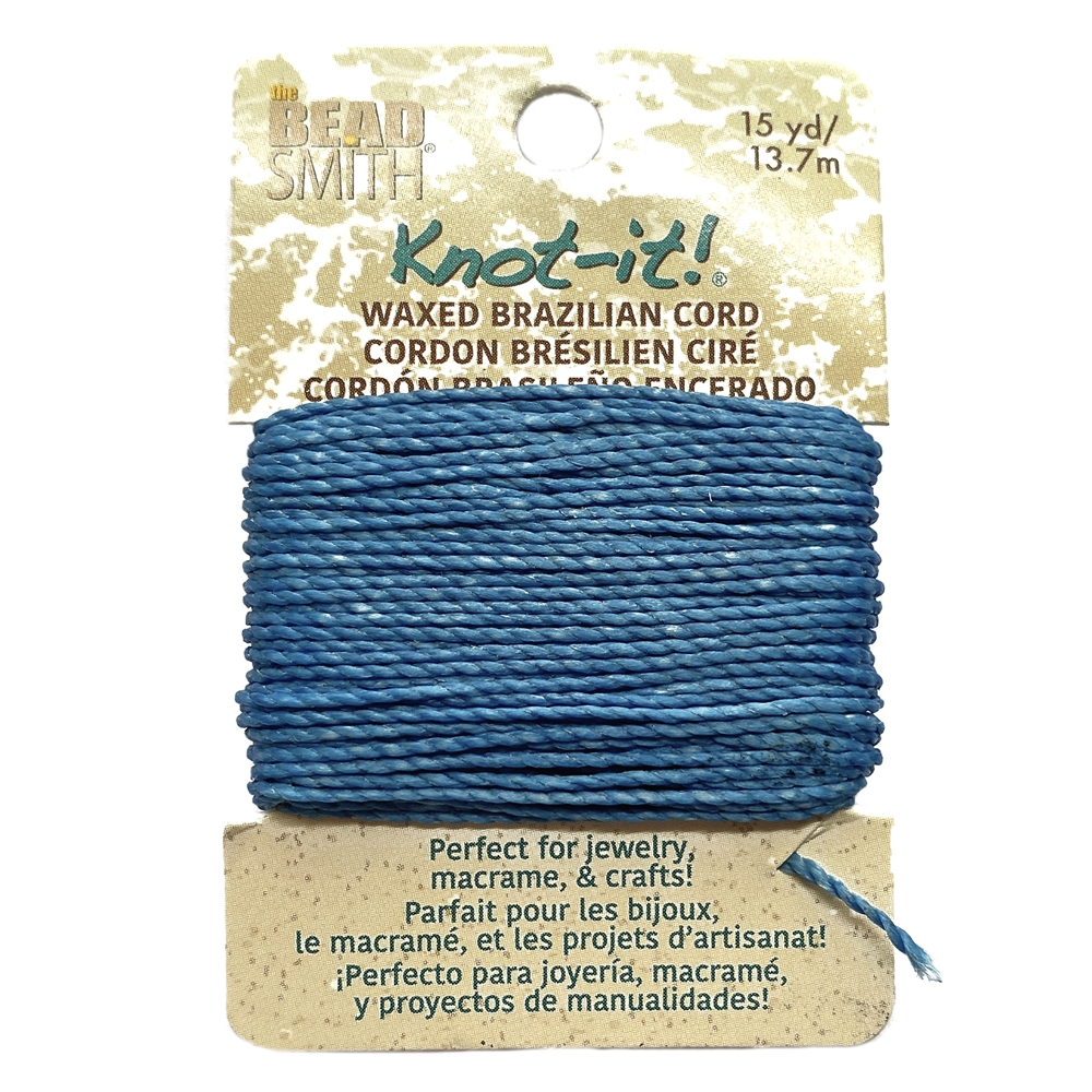 deep ocean blue waxed Brazilian cord, knotting twine, craft cord, waxed cord, blue cord, waxed cord, 15 yards, jewelry cord, 13.7 meters, jewelry making, vintage supplies, jewelry supplies, B'sue Boutiques, jewelry waxed cord, blue, 02447