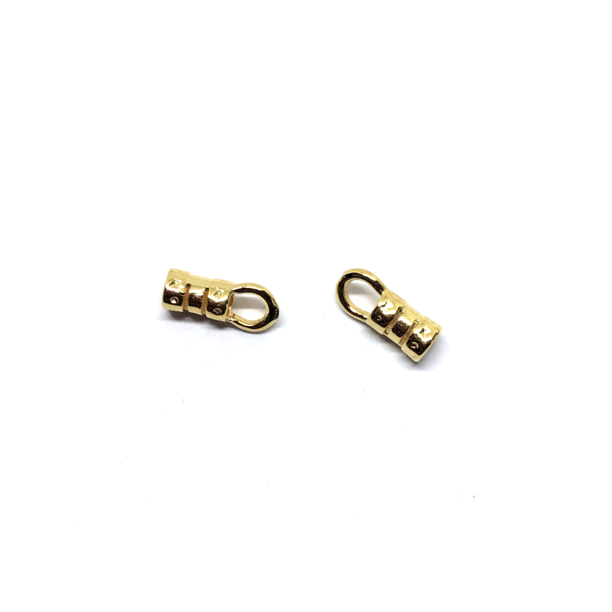 crimp end, cord end, connector, 01165, cordend, 4x10mm, goldtone, crimps