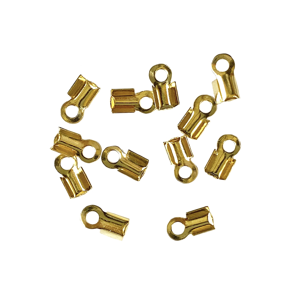 fold-over cord end crimps, gold plated, 2mm, crimp ends, connectors, gold, cord, cable strands, brass base, crimp, basic jewelry findings, US-made, nickel-free, B'sue Boutiques, jewelry findings, vintage supplies, jewelry supplies, 01611