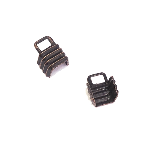 rusted iron, crimp ends, cord ends, 08639, connectors, crimps, brass crimps, ribbed, jewelry making, jewelry supplies, Bsue Boutiques