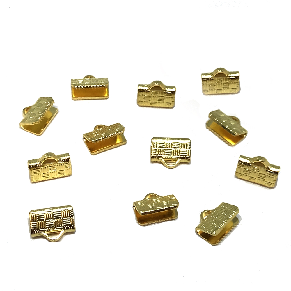 crimps, crimp ends, gold plate, 01178, cord ends, cordends, gold crimps, woven design, 10 x 8mm