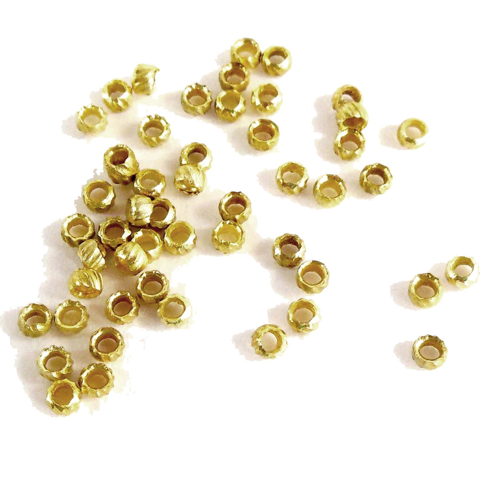 crimp beads, beading supplies, gold plate, 07682, B'sue Boutiques, nickel free jewelry, US made jewelry, bead finding, jewelry finding, vintage jewellery supplies, jewelry making supplies, antique gold crimp beads