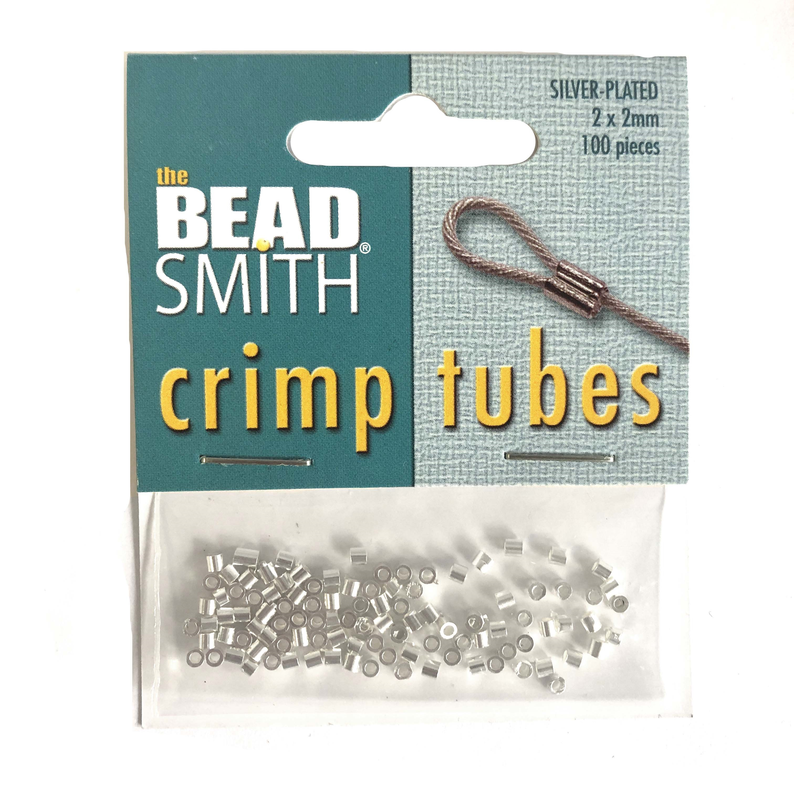 crimp tubes, tube beads, silver plated, 09349, crimp beads, crimps, silver, 2x2mm, 100 pieces, B'sue Boutiques, jewelry supplies, findings, connectors, jewelry making