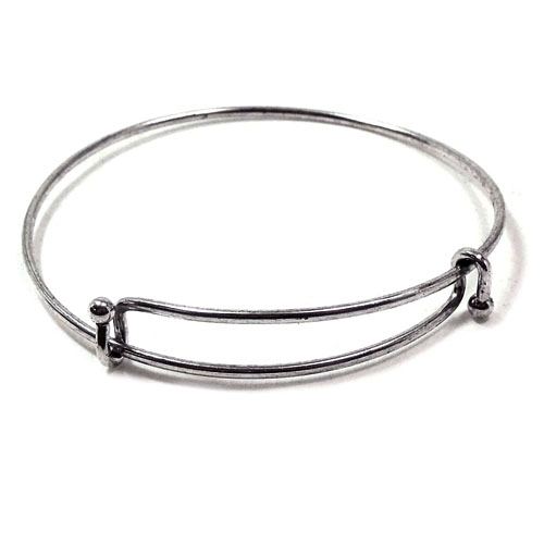 gunmetal, expandable bracelet, bracelet, wire cuff, cuff bracelet, charms, wire charm bracelet, silver oxide, cuff, adjustable, US made, nickel free, b'sue boutiques, jewelry findings, vintage supplies, jewelry supplies, jewelry making, wire, 01754