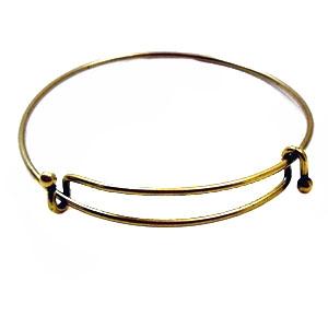 Antique Br Expandable Bracelet Wire Cuff Charms