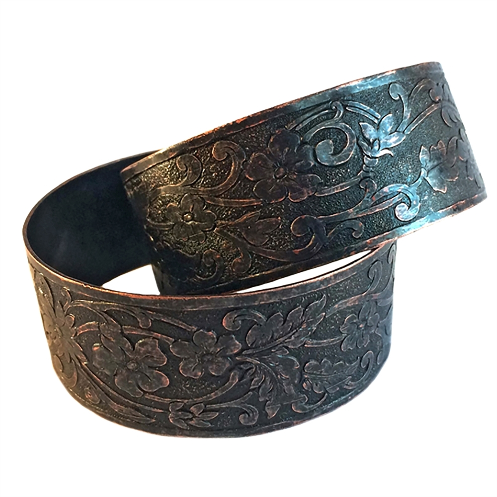 floral design cuff, rusted iron brass, floral design, cuff, bracelet cuff, floral bracelet cuff, rusted iron cuff, antique copper tones, etched border, leafy cuff, adjustable cuff, jewelry making, jewelry supplies, vintage supplies, jewelry cuff, 02124