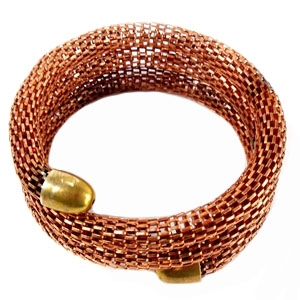 vintage mesh bracelet, coil cuff, 07095, B'sue Boutiques, vintage jewelry supplies, vintage brass filigree, vintage jewelry findings, mesh cuff, antique copper, reddish brass, vintage jewelry parts, cuff bracelets, vintage jewelry