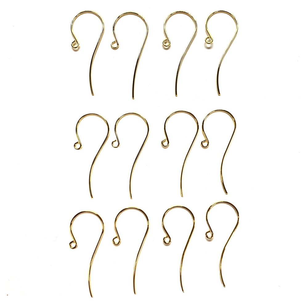 large ear wires, fish hook style, gold plated, 01822, B'sue Boutiques, nickel free,  jewelry supplies, vintage jewelry supplies, jewelry making, beading supplies, handmade ear wires, gold ear wires