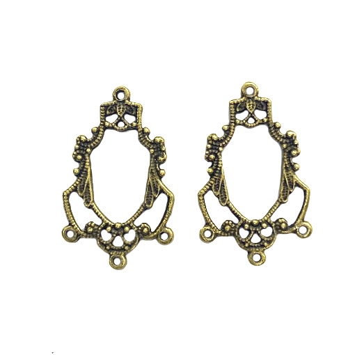 openwork chandelier ear drops, bronze, earrings, pendant drop, pendants, jewelry pendant, jewelry making, jewelry supplies, vintage supplies, B'sue Boutiques, 27 x 17mm, filigree pendant, vintage pendant, chandelier, 03937
