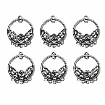 gypsy style ear drops, circle hoops, antique silver, earrings, ear drops, circle design, silver ear drops, gypsy earrings, chandelier earrings, jewelry making, jewelry supplies, B'sue Boutiques, 24 x20mm, gypsy hoops, 03939
