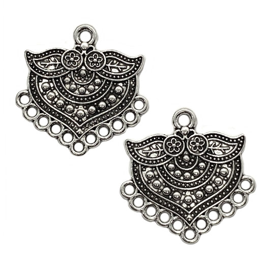 Indonesian Style Ear Drops, Antique Silver, 04076, Indonesian style, floral, floral design, silver ear drops, earrings, gypsy earrings, jewelry supplies, B'sue Boutiques, ear drops, earrings