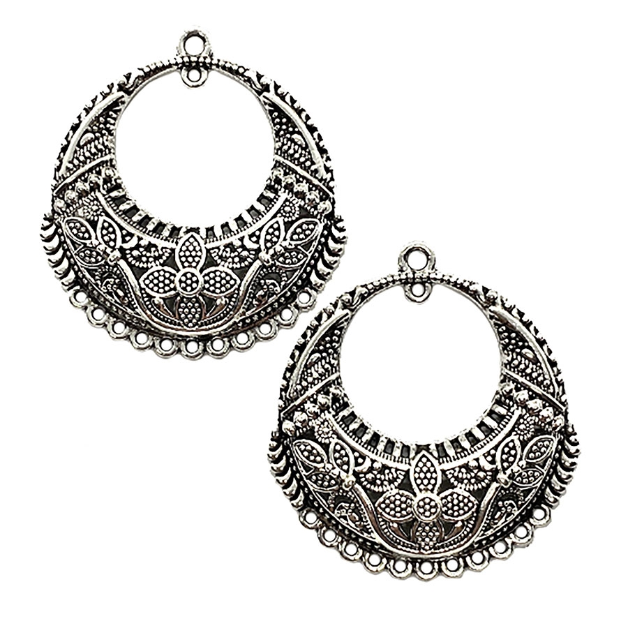 Chandelier Ear Drops, Antique Silver, 09838, Indonesian style, floral, floral design, silver ear drops, earrings, gypsy earrings, chandelier earrings, jewelry supplies, B'sue Boutiques, ear drops
