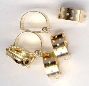 Goldplated Perforated Hoop Earclips for Beading