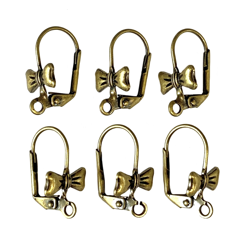 bow design ear findings, antique brass, brass, antique brass ear findings, ear wire, bow design, lever back style, lever back earrings, 6 piece, nickel free, US made, earrings, ear findings, jewelry making, vintage supplies, jewelry findings, 05953